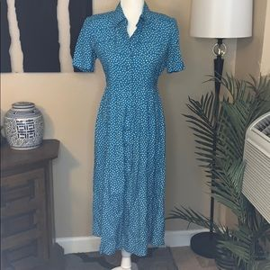 Vintage 90s button down graphic print teal dress